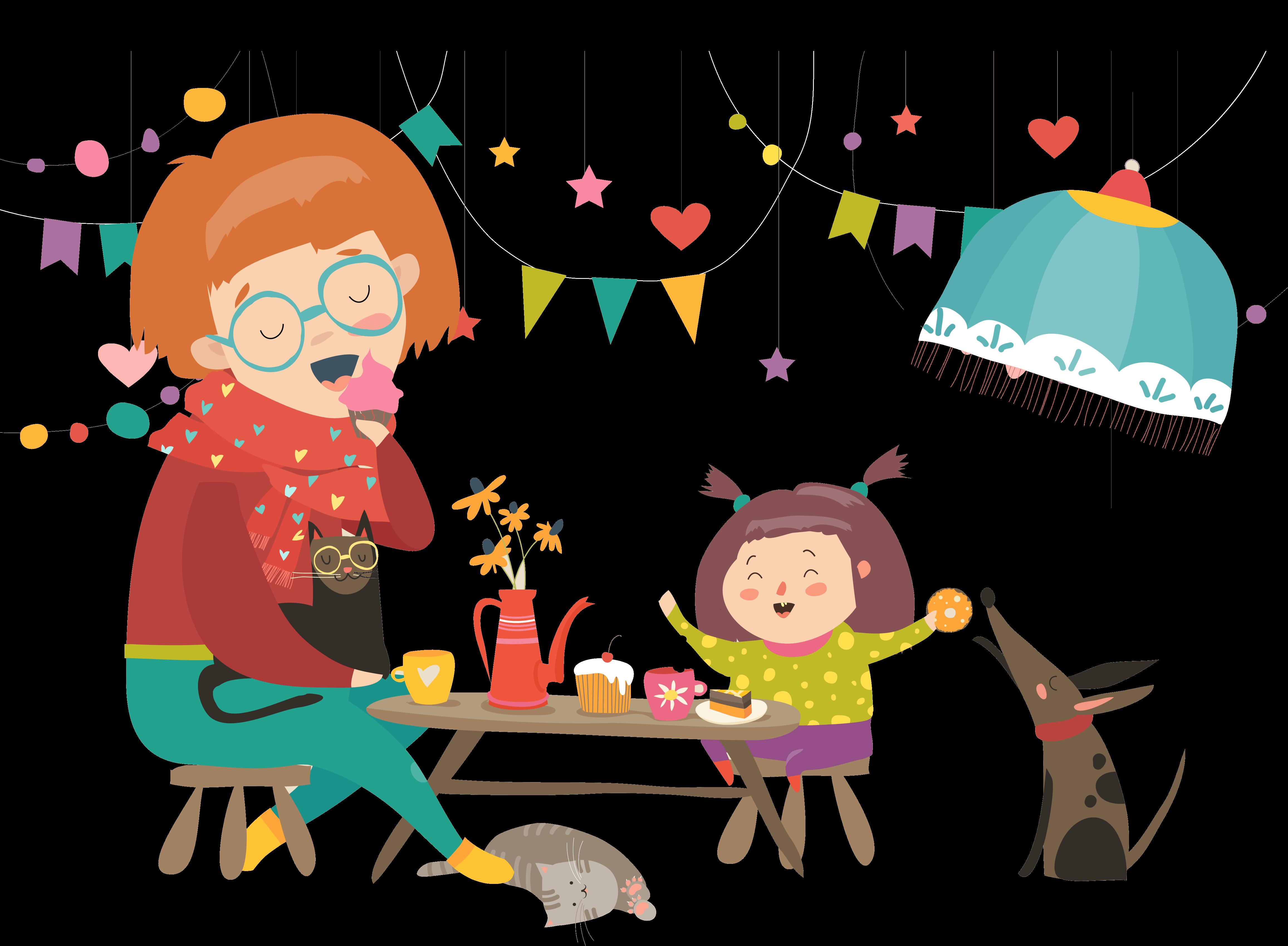 Divorce & Children - Adult and Children partying